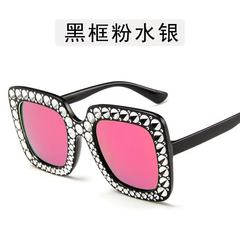 Women Sparkling Crystal Sunglasses Oversized Square Thick Frame transparent/ purple pink one model