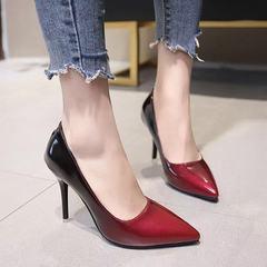 Women Gradation Comfort Medium High Heel Pointy Toe PumpSuper Cushioned Memory Foam Inner Sole red 39