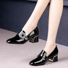 Women's Slip On Chunky Heels with Crystal Square Patent Leather Comfort Dressy Handmade Pumps Shoes black 36