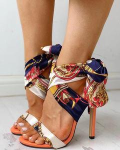 Women's Fashion American Sandals Satin Tie Lace Up Slingback Shoes High Heel Dress Sandals Plus Size Orange 40