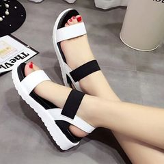 Womens Flat Wedge Ankle Buckle with Strap Fashion Summer Beach Sandals Open Toe Shoes Black 36
