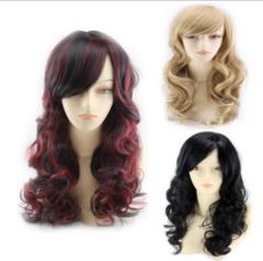 Synthetic Wigs New Fashion Wigs Women hairs wigs Long Wave red black black same size