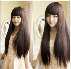 Synthetic Wigs New Fashion Wigs Women hairs wigs Long straight Black dark brown same size