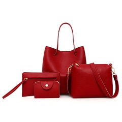 Female bag 4 times the new tide fashion litchi grain lash package tassel worn one shoulder bag red same size