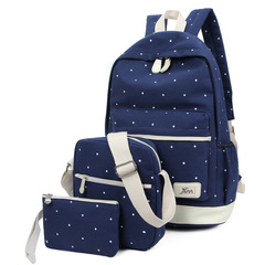 Dual wave point three-piece backpack backpack student canvas bag blue same size