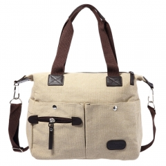 Vintage Style Cotton Canvas Leather Large Capacity Single Shoulder Messenger Bag School Bag Khaki one size