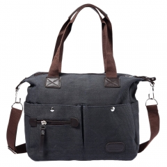 Vintage Style Cotton Canvas Leather Large Capacity Single Shoulder Messenger Bag School Bag black one size
