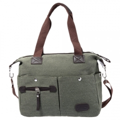 Vintage Style Cotton Canvas Leather Large Capacity Single Shoulder Messenger Bag School Bag army green one size