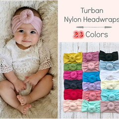 Kids Baby Cute Elastic Headband Nylon Soft Ball  Hair Toddler Turban Headwraps Knot Accessories 1