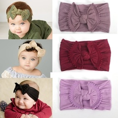 21 Colors Bouncy Turban Nylon Headwrap Baby Kids Bow Headbands Super Soft Hair Bands Headwrap Black