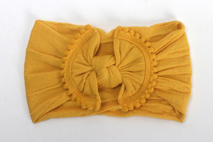 21 Colors Bouncy Turban Nylon Headwrap Baby Kids Bow Headbands Super Soft Hair Bands Headwrap Yellow