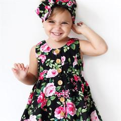 New Fashion Girls Dress Summer Flowers Dress 3-8Y Sleeveless Cotton Sweet Princess Dress deep color 90