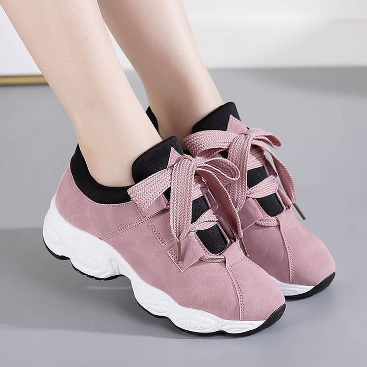 Korean version of sports shoes women spring and autumn leather face white shoes women casual wild co pink 40