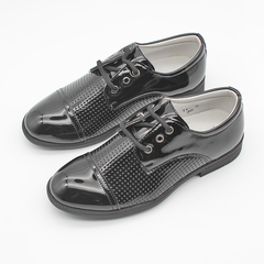 New Lace Up Boy's School Shoe Shiny PU Leather black 37