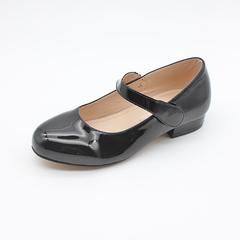Girls Back To School Shoes Kids Strap Ballerina Flats black 25