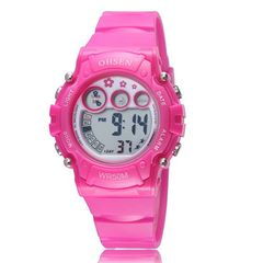 Popular Boys Girls Children Electronic Digital Sport Watch Waterproof Rubber Band Kids Wristwatch red 1508