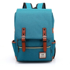 Men and women Canvas Backpacks for Laptop Large Capacity Computer Bag Casual School Bagpacks peacock blue as picture