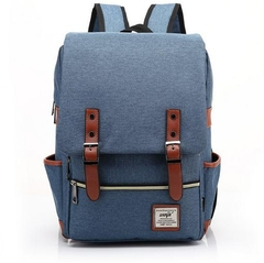 Men and women Canvas Backpacks for Laptop Large Capacity Computer Bag Casual School Bagpacks purplish bule as picture