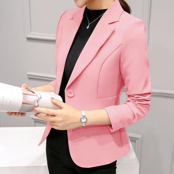 2019Women Jackets Long Sleeves Office Lady Single Button Women Suit Jacket Female Feminine Blazer pink xxl