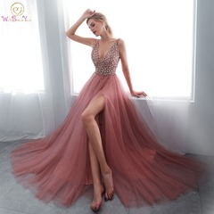 Beading Prom Dress 2019 V-neck Pink High Split Tulle Sleeveless Evening Gown A-line Lace Up Backless COLOR 1