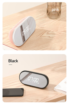 Encok Alarm Clock Bluetooth Speaker Wireless Sound System 3D Stereo Music Surround Subwoofer D9 Black E09