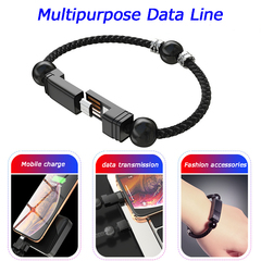 Creative Bracelet Data Line Applicable to Apple Android Type-C Mobile Charging Line Couple Bracelet black iphone