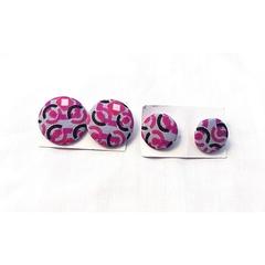 Ankara button earrings (Set) multicolor medium and small