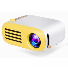 YG200 Mini LED Pocket Projector Home Beamer Kids Gift USB HDMI Video Portable Projector Yellow match white