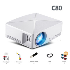 C80/C80UP, 1280x720 Resolution, Android WIFI Proyector, LED Portable HD Beamer for Home Cinema C80 basic version White