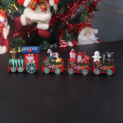 Wooden Cartoon Santa Claus Train Car Toy For Kid Girls Boys Gift Christmas Home Decoration Ornaments Style A