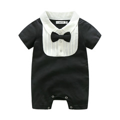 New baby children's clothing for boys and girls pure baby bow tie short-sleeved jumpsuit black 70CM