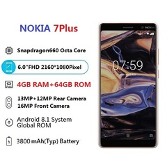 smart phone  7 Plus 4GB RAM 64GB ROM Dual SIM Nokia 7Plus Smartphone white white