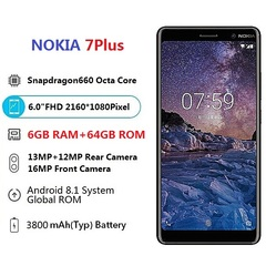 smart phone  7 Plus 6GB RAM 64GB ROM Dual SIM 4G Nokia 7Plus Smartphone black