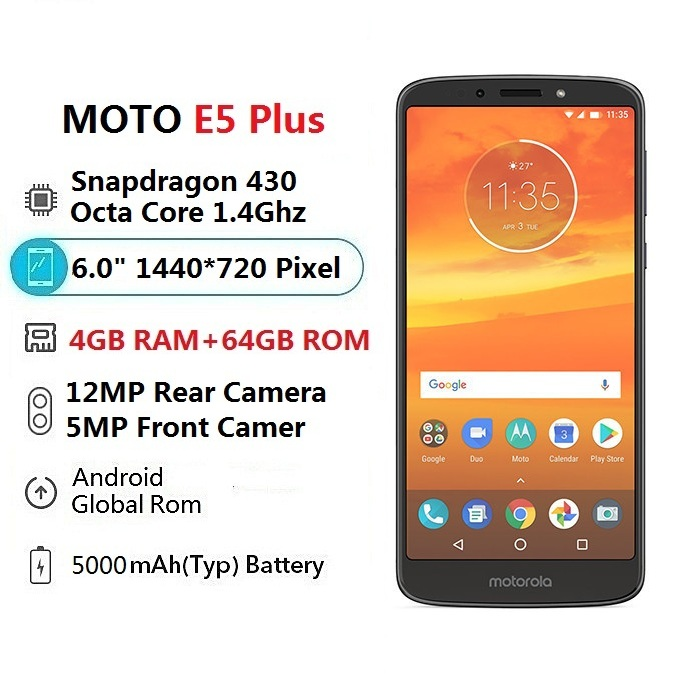 smart phone  Moto E5 Plus 6.0Inch 4GB RAM+64GB ROM Snapdragon430 OctaCore 1.4GHz,5000mAh Bat Gray
