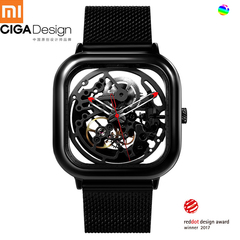 XIAOMI CIGA Design Men Automatic Mechanical Watch Full Hollow Stainless Steel Strap Wrist Watch black .