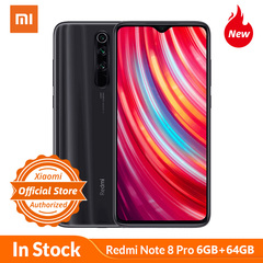 XIAOMI MI REDMI NOTE 8 PRO  64MP + 8MP + 2MP + 2MP Achter Quad Camera 'S, 12MP Front Camera black 6GB+64GB