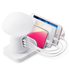 Best Seller Multiple USB Ports Phone  Chargers Wireless Charger with LED Light Multi Function white as picture