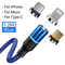 Magnetic USB Cable  Data and Charging 2 in-One Micro Android Type-c and IOS Phone Cable 3-in One blue-ios+roid+type-c ios + android + type-c