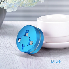 Three-in-one Data cable One-to-three Telescopic Charging USB cable 3A Fast charging Multi-function blue ios + android + type-c