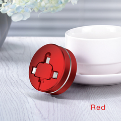 Three-in-one Data cable One-to-three Telescopic Charging USB cable 3A Fast charging Multi-function red ios + android + type-c