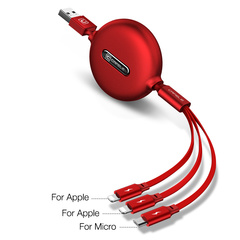 Three-in-one Data cable One-to-three Telescopic Charging USB cable 3A Fast charging Multi-function red-ios + ios+ android ios + ios+ android