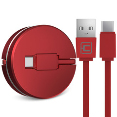 USB Charging Cable Macaron Shape Fashion Telescopic Data Charged Cable For Type-c Phone red Type-c