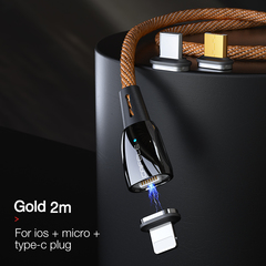 Three-in-one Magnetic Data Cable for Apple Android Type-c Mobile Phone Charging USB 2m Cable orange ios + android + type-c+2m cable