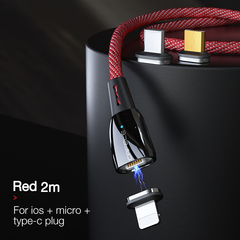 Three-in-one Magnetic Data Cable for Apple Android Type-c Mobile Phone Charging USB 2m Cable red ios + android + type-c+2m cable