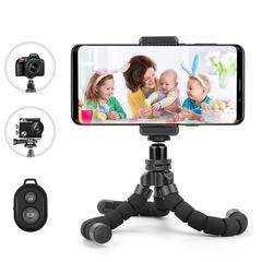 Selfie Tripod Phone Holder Clip Stand Flexible Sponge Octopus Bluetooth Remote Shutter Camera Tripod black Selfie Tripod