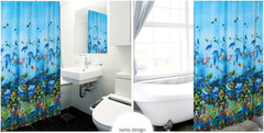 2019 new shower curtain with hook and loop, one size blue one size