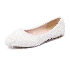 Women's 1 pair of soft leather flat lace wedding shoes pointed shallow shoes white red 43 white 34