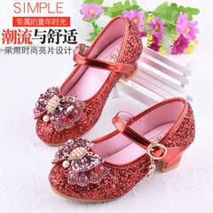Girl Butterfly Knot Leather Shoes High-heeled Crystal Princess Shoes Single Shoes EU30 Red 29