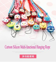 Two pieces in one package cartoon silicon multi-function hanging rope mobile phone neck strap pink+blue two pieces