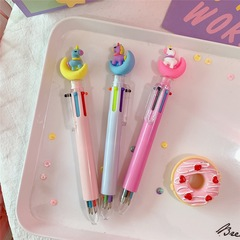 Ten colors in one pen multi-function marking pen craft gift promotional ball point pen pink with yellow moon ten color pen